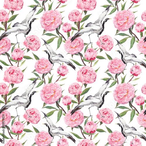 dzwigowy-taniec-ptakow-rozowe-kwiaty-piwonii-kwiatowy-tlo-powtarzalne-ak