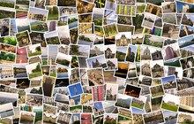 Asymmetrical Mosaic Mix Collage Of 200  Photos Of Different Places, Landscapes, Objects  Shot By Myself During Europe Travels Warm Filtered