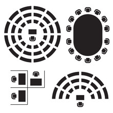 Business, Education And Government Furniture Symbols Used In Architecture Plans Icons Set, Top View, Graphic Design Elements, Black Isolated On White Background, Vector Illustration.