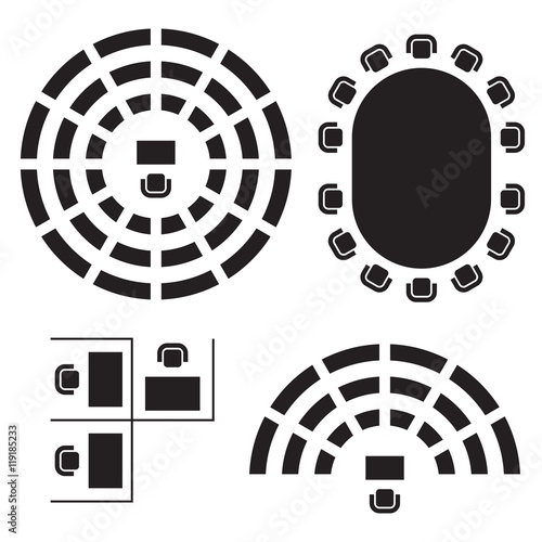 Photo Business, education and government furniture symbols used in architecture plans icons set, top view, graphic design elements, black isolated on white background, vector illustration
