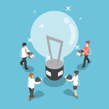 Isometric Business People Going To Recharge Idea From Big Light