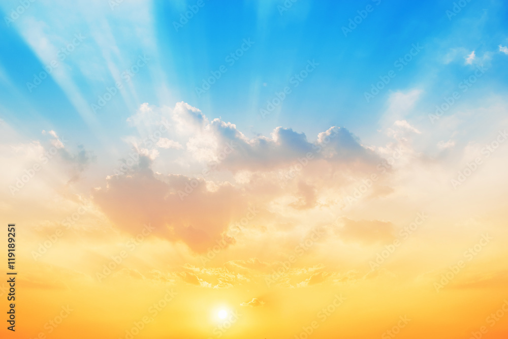 Sunset sky background,The sky will change colors from blue to orange.