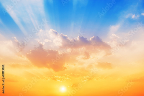 plakat Sunset sky background,The sky will change colors from blue to orange.