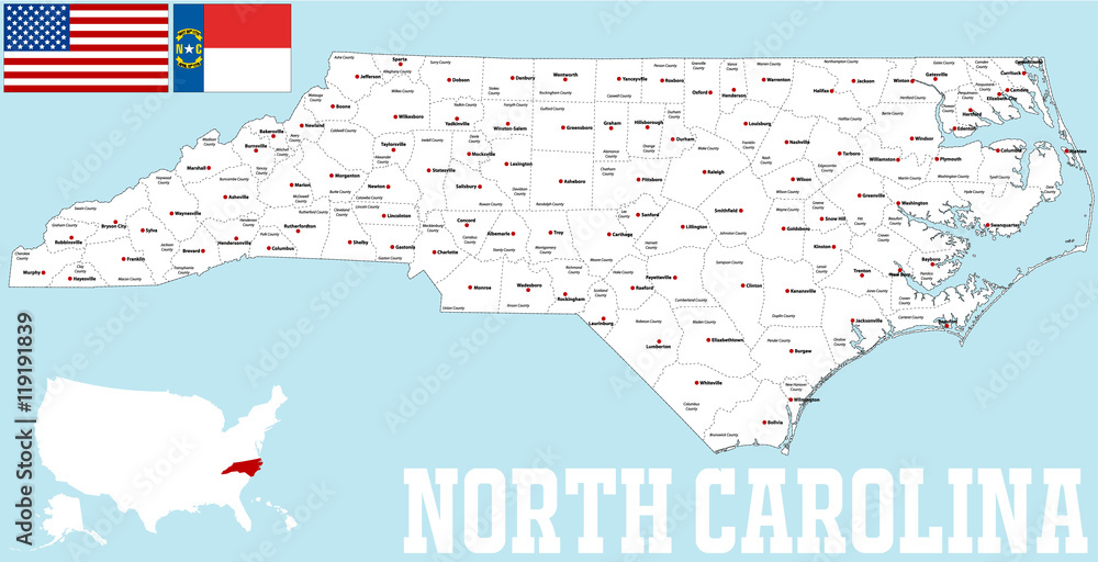 Fototapety, obrazy: Large and detailed map of the State of North Carolina with all counties and county seats.