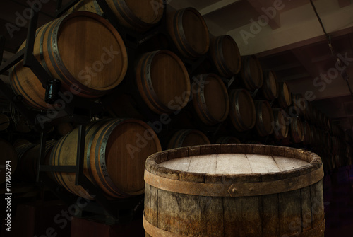 Antique Wine Cellar With Rusty Wooden Barrels Buy This Stock Photo