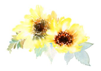 Panel Szklany Słoneczniki Watercolor sunflowers