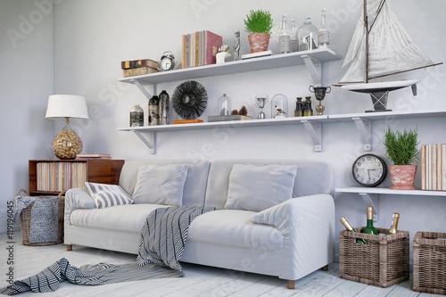 Skandinavisches, nordisches Wohnzimmer mit einem Sofa, Regalen und ...