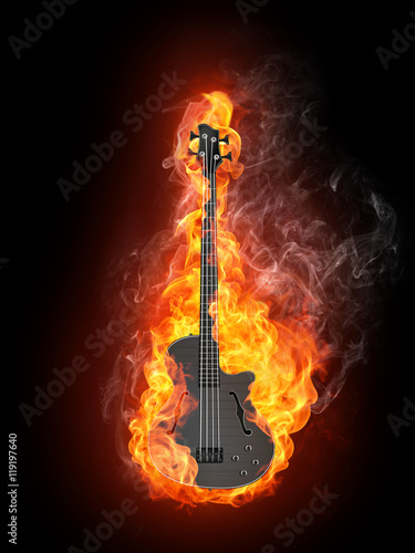 Canvas Prints Flame Electric Bass Guitar