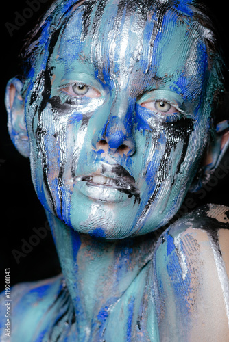 Abstract Art Makeup Face Neck And Hair Girls Smeared With