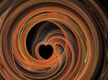 Abstract Fractal Orange Heart Swirling
