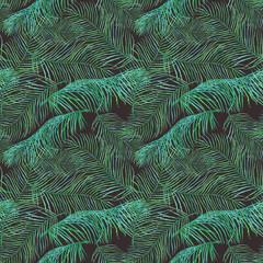 FototapetaWatercolor palm leaves saemless pattern on dark background.