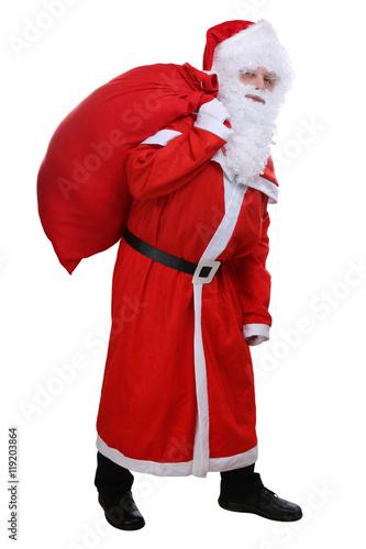 weihnachtsmann nikolaus mit sack für geschenke an