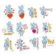 cute bunny character emoticons stickers set