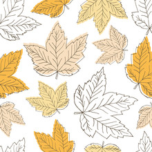 Seamless Pattern With Orange Leaves