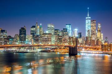 Fototapeta na wymiar Aerial view of  Brooklyn Bridge and  Manhattan skyline, NYC
