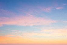Background Of Sunrise Sky With Gentle Colors Of Soft Clouds