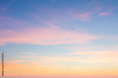 Fototapeta Background of sunrise sky with gentle colors of soft clouds obraz