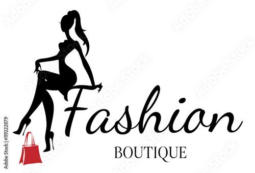 Fotografie, Obraz  Fashion boutique logo with black and white woman silhouette vector