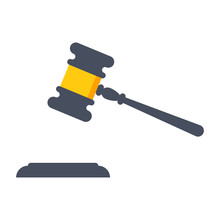 Gavel Judge Vector Illustration In Flat Style.