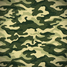 Military Camouflage Background With Grunge Effect, Vector