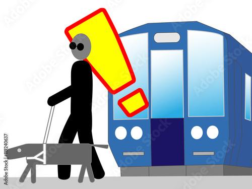 Fotografie, Obraz  駅のホームでの視覚障害者の安全を