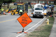 Utility Work And Warning Sign ...