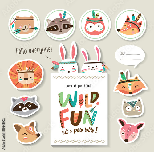 Set of cartoon card and sticker with woodland animals