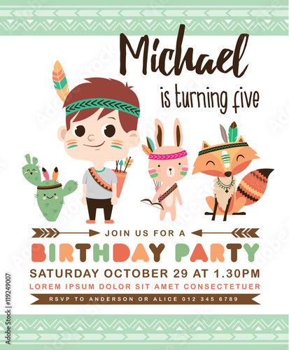 Kids Birthday Party Invitation Card With A Cute Little Boy