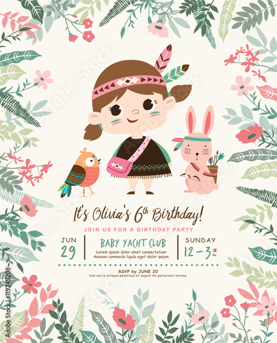 Kids Birthday Party Invitation Card With A Cute Little Girl