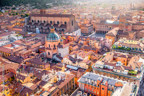 Fotografie, Obraz  Aerial cityscape view from the tower on Bologna old town in Italy