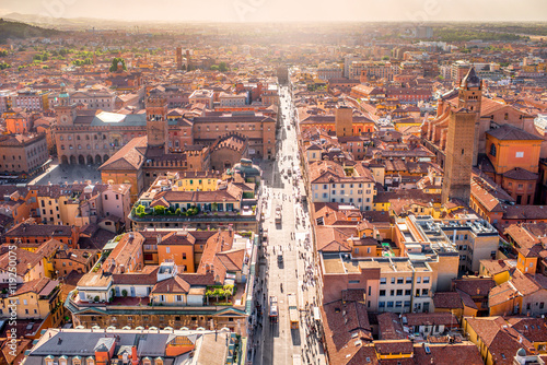 Leinwand Poster  Aerial cityscape view from the tower on Bologna old town in Italy