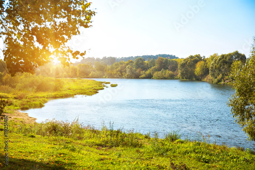 Canvas Print River bank on sunny day