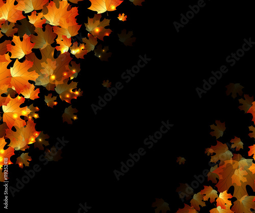 Canvas Print the concept autumn with orange leaves