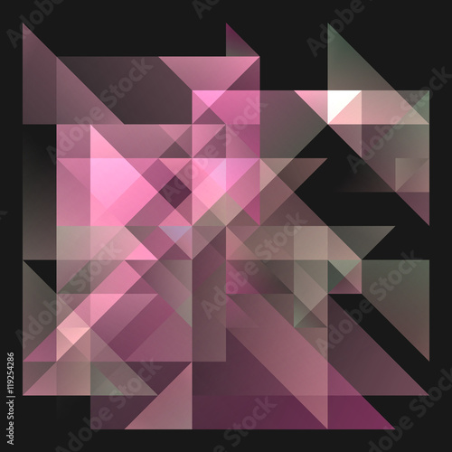 Abstract 2D Geometric Purple And Pink Background With Triangles In
