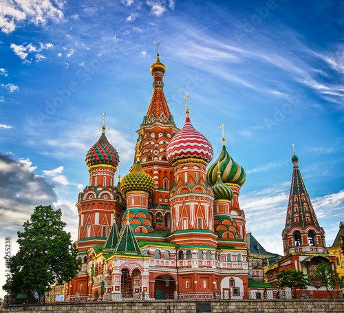 Poster Moskou St Basils cathedral on Red Square in Moscow