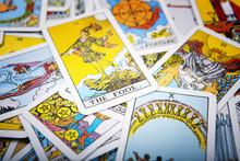 Tarot Cards Mystical Old  Background. Senior Card Fool.