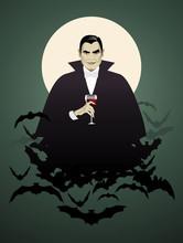 Dracula. Elegant Vampire On A Cloud Of Bats Holding A Wineglass.