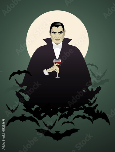 Fotografie, Obraz  Dracula. Elegant vampire on a cloud of bats holding a wineglass.
