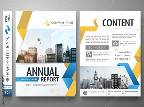 yellow abstract shape on a4 poster layout design brochure design