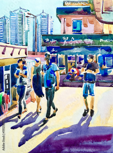 watercolor-painting-of-street-with-people-walking-in-bright-sunl