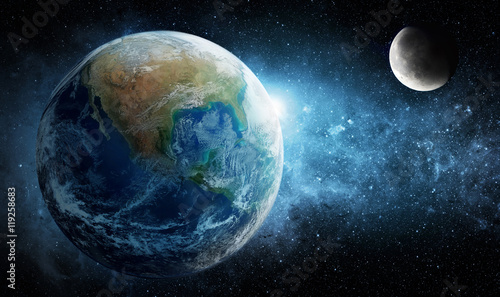 Earth, moon and star. Elements of this image furnished by NASA.