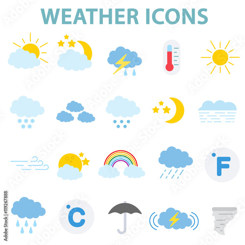 Fotografia, Obraz  weather icons set.weather conditions collection. flat design