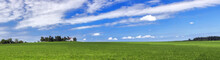 Amazing Summer Countryside With Green Pasture And Blue Sky With Clouds - Czech Republic, Europe.