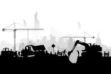 Construction Vehicles Silhoette City