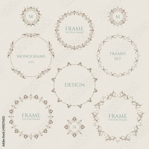 Set Of Round Frames And Monograms Template Labels Stickers Cards