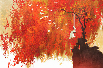 Fototapetawoman on a swing under autumn tree,illustration painting