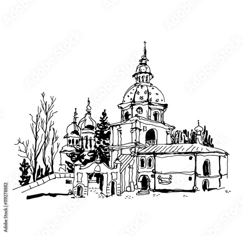 Fototapety, obrazy: black and white sketch drawing of Vydubychi monastery in Kyiv Uk