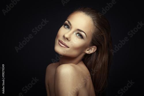 Fotografie, Obraz  Woman beauty portrait on dark background