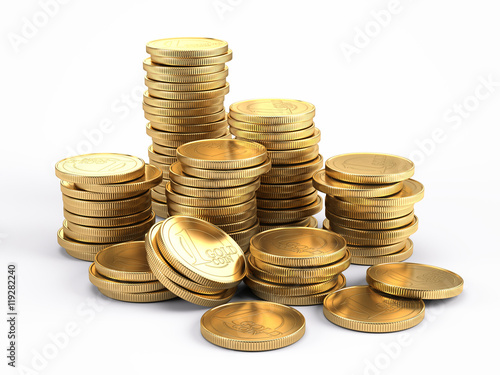 Fotografía  Banking and finance concept - Gold coins isolated on white background