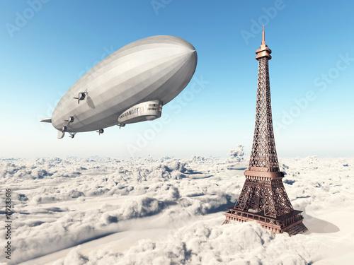 Foto Zeppelin und Eiffelturm über den Wolken